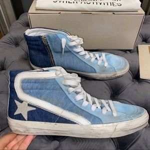 New Size 41 Golden Goose Light Blue Sneakers Slide